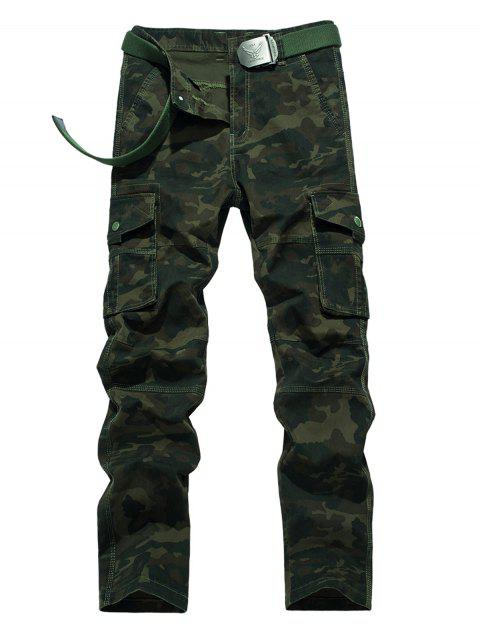 Zipper Fly Straight Leg Plus Size Pockets Embellished Camouflage Cargo Pants - ARMY GREEN 34