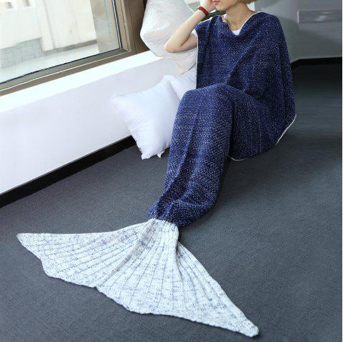 High Quality Warmth Comfortable Knitting Sofa Mermaid Blanket - SAPPHIRE BLUE