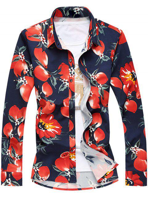 Tournez-Down Collar manches longues Plus Size Florals 3D Print Shirt - Rouge L