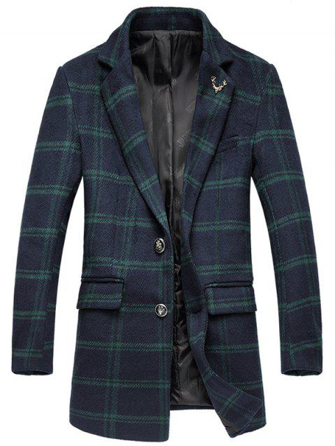 Tartan Plus Size Lapel Single-Breasted Long Sleeve Woolen Coat - GREEN M
