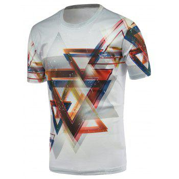 3D Geometric Print Round Neck Short Sleeves T-Shirt For Men