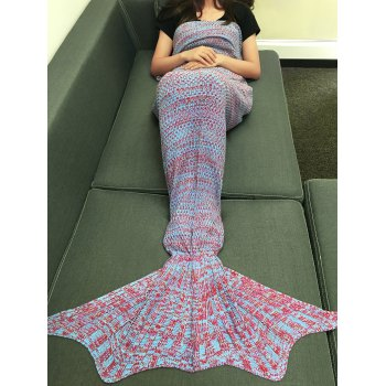Stylish Multicolor Knitting Sleeping Bag Fish Tail Design Blanket For Adult -  BLUE/RED