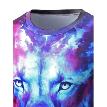 Round Neck Long Sleeve Starry Sky 3D Lion Print T-Shirt - COLORMIX XL