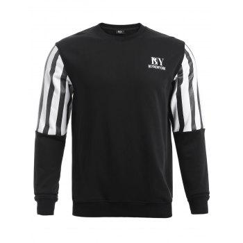 BoyNewYork Stripes Splicing Design Round Neck Sweatshirt