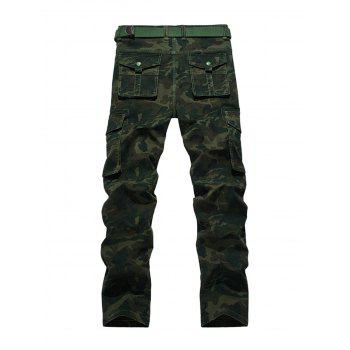 Zipper Fly Straight Leg Plus Size Pockets Embellished Camouflage Cargo Pants - ARMY GREEN 40