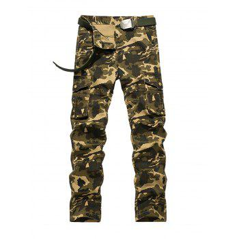Zipper Fly Straight Leg Plus Size Pockets Embellished Camouflage Cargo Pants