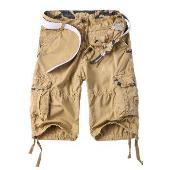 Men's Multi-Pocket Camo Spliced Straight Leg Zipper Fly Cargo Shorts