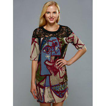 Vintage Lace Spliced Ethnic Print Mini Shift Dress - COLORMIX XL