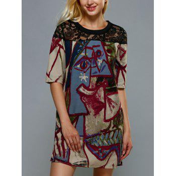 Vintage Lace Spliced Ethnic Print Mini Shift Dress
