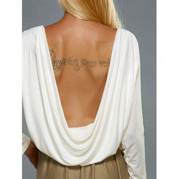 Long Sleeve Color Patchwork Backless Mini Dress - WHITE XL