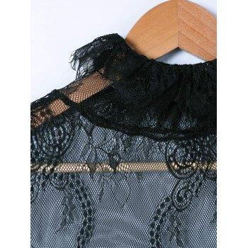 Lace See-Through Blouse - Noir ONE SIZE