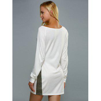 Skew Neck Long Sleeve Mini Jersey Sheath Dress - WHITE XL