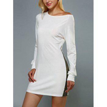 Skew Neck Long Sleeve Spliced Shift Dress