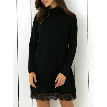 Turtle Neck Lace Spliced Shift Mini Dress