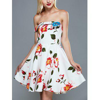 Off The Shoulder Floral Fit and Flare Cocktail Dress