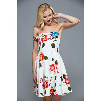 Off The Shoulder Floral Fit and Flare Cocktail Dress - S S