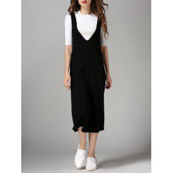 Plunging Neck Wide Leg Jumpsuit - BLACK BLACK