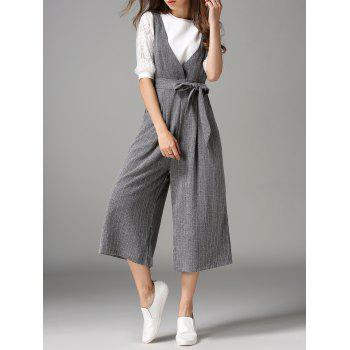 Plunging Neck Bowknot Design Jumpsuit - GRAY GRAY