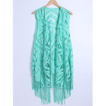 Lace Fringed Cardigan Long Beach Kimono Cover Up