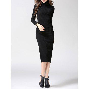 Turtleneck Ribbed Bodycon Midi Knit Dress - BLACK M