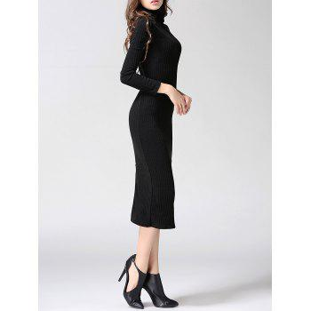 Turtleneck Ribbed Bodycon Midi Knit Dress - M M