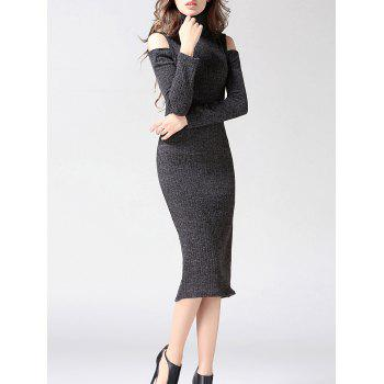 Turtleneck Open Shoulder Bodycon Midi Knit Dress - GRAY GRAY