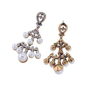 Faux Pearl Rhinestoned Fan-Shaped Earrings -  GOLDEN