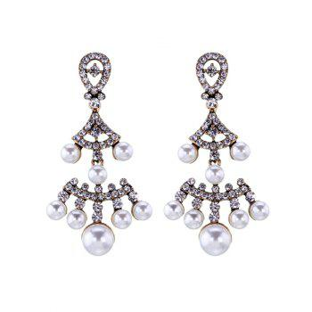 Faux Pearl Rhinestoned Fan-Shaped Earrings - GOLDEN GOLDEN