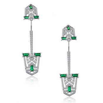 Rhinestoned Faux Crystal Shovel Shape Earrings -  SILVER
