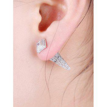 Rhinestoned Faux Crystal Geometric Earrings -  SILVER