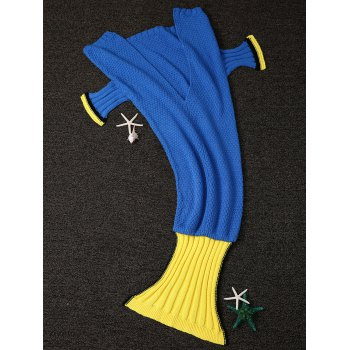 Warmth Knitting Fish Tail Shape with Fins Design Blanket For Adult - BLUE