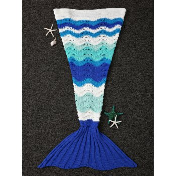 Wave Stripe Design Knitting Kid's Fish Tail Shape Blanket - COLORMIX COLORMIX
