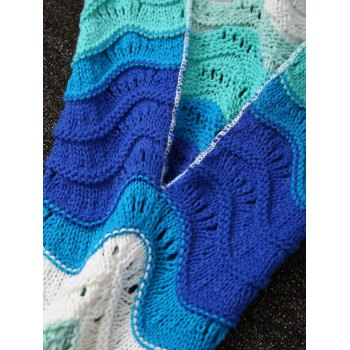 Vague Stripe design Knitting Kid  's Fish Tail Shape Blanket - multicolorcolore