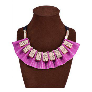 Faux Leather Geometric Fake Collar Necklace - PURPLE PURPLE