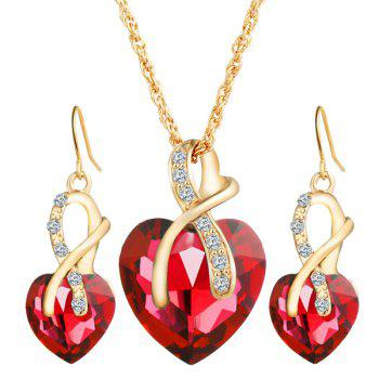 Rhinestone Faux Crystal Heart Wedding Jewelry Set - RED RED