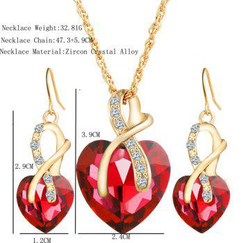 Rhinestone Faux Crystal Heart Wedding Jewelry Set -  RED