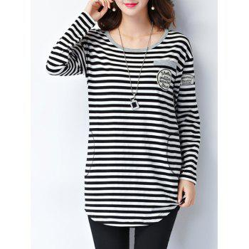 Striped Epaulet Embellished Long Sleeve Tee - XL XL
