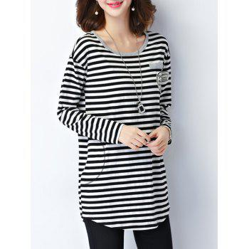 Striped Epaulet Embellished Long Sleeve Tee - BLACK BLACK