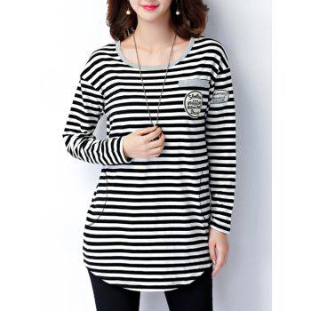 Striped Epaulet Embellished Long Sleeve Tee - BLACK L