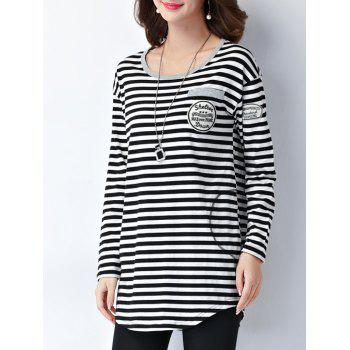 Striped Epaulet Embellished Long Sleeve Tee - L L
