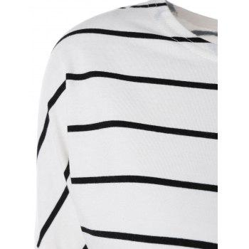 Drop Shoulder Striped Long Sleeve Tee - WHITE WHITE