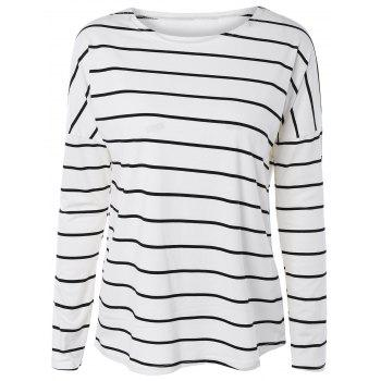 Drop Shoulder Striped Long Sleeve Tee - WHITE XL
