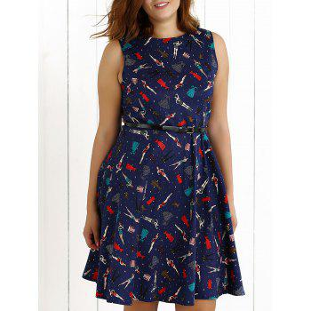 Plus Size Vintage Beauty Print Swing Dress