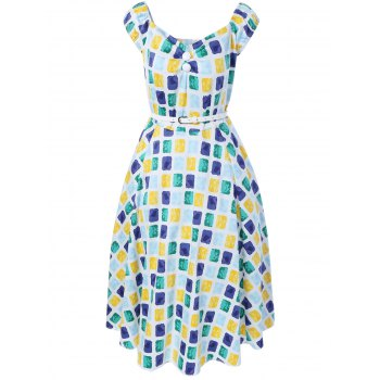 Oversized Colorful Plaid Print Pin Up Skater Dress - BLUE+YELLOW+GREEN L