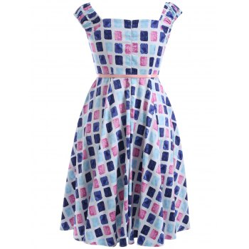Oversized Colorful Plaid Print Pin Up Skater Dress - L L