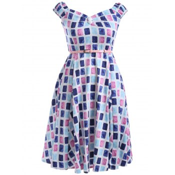 Oversized Colorful Plaid Print Pin Up Skater Dress - BLUE AND PINK L