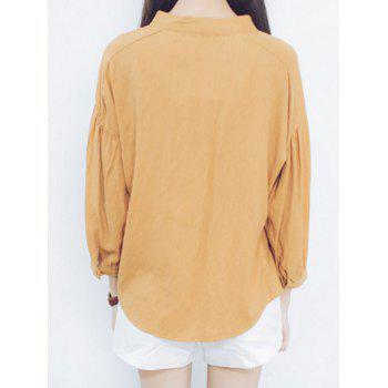 Puff Sleeves Criss-Cross Loose-Fitting Blouse - ONE SIZE ONE SIZE