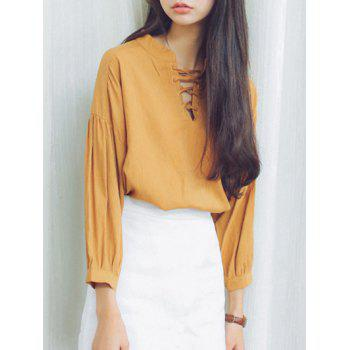 Puff Sleeves Criss-Cross Loose-Fitting Blouse - EARTHY ONE SIZE