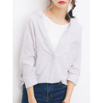 3/4 Sleeves Striped Loose-Fitting Irregular Blouse - ONE SIZE ONE SIZE