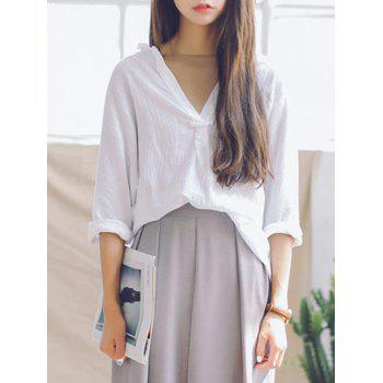 Plunging Neck 3/4 Sleeves Loose Blouse - WHITE WHITE